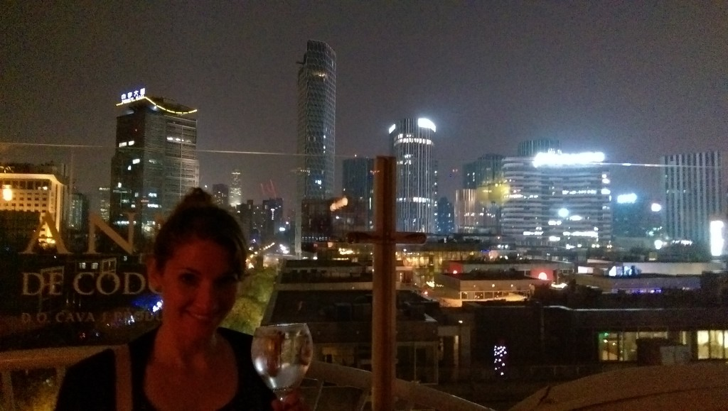 Enjoying the view from the rooftop bar with a Martin Miller's gin and tonic and cinnamon stick