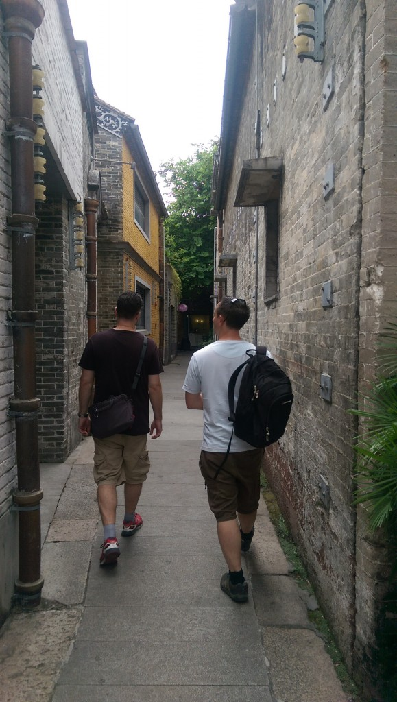 Mark and Will walking through Lingnan's narrow alleys full of interesting shops, bars and cafes.