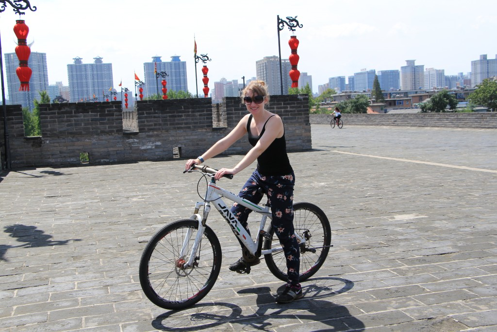 Cycling on the ancient city walls of Xi'an