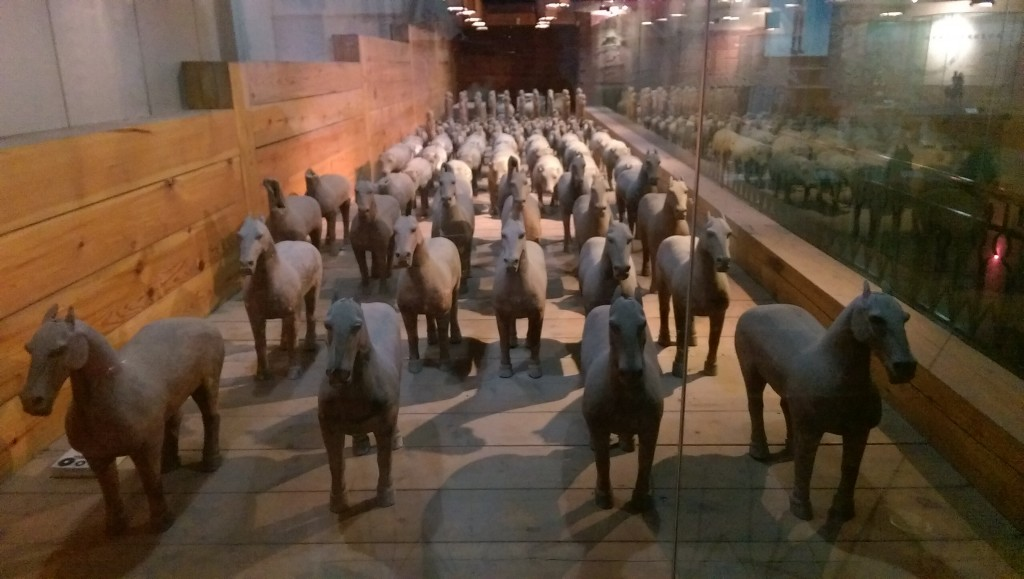 The terracotta figures at the tomb of emperor JingDi included horses, pigs, goats and dogs