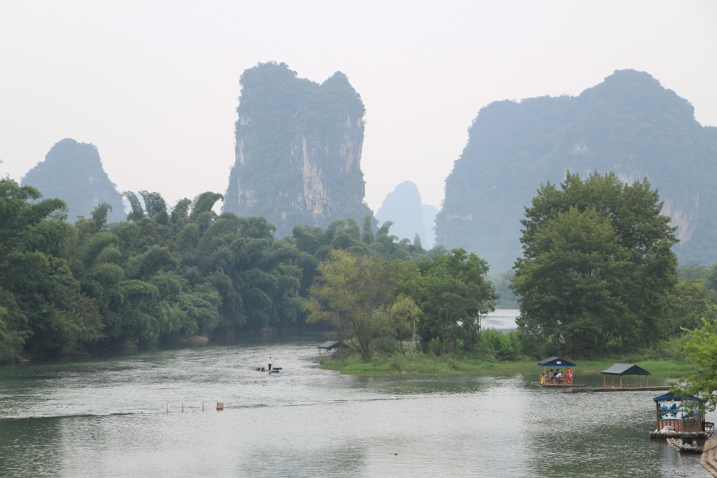 The river ran right next to our hotel - with views of karst rock formations all around