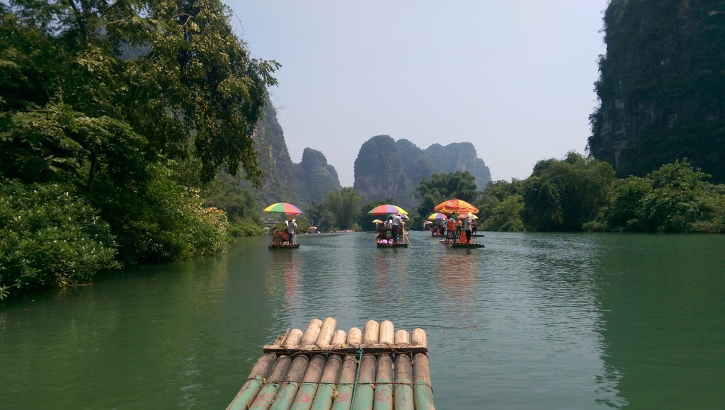 Bamboo river rafting along the pretty Yulong River, Yangshuo