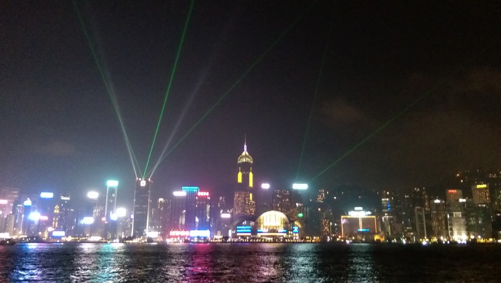The nightly light show along the Avenue of the Stars, Hong Kong