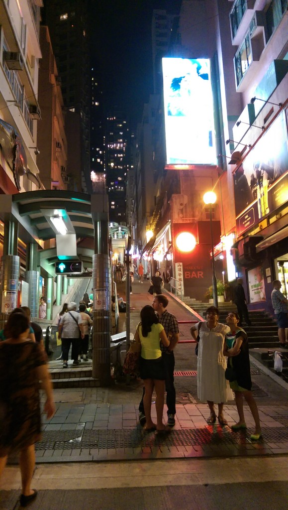 The Mid Levels in Soho, HK - escalators on the side of the footpaths to help you get around quicker